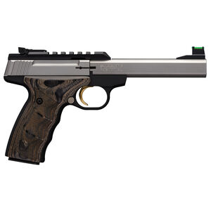 "Browning Buck Mark Plus UDX .22 LR Semi Auto Rimfire Pistol 10 Rounds 5.5"" Stainless Slabside Bull Barrel F/O Front Sight UDX Grips Black"