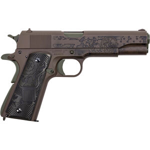 "Auto-Ordnance The General .45 ACP 1911 Semi Auto Pistol 5"" Barrel 7 Rounds Adjustable Rear Sight Black Army Eagle Wood Grips Patriot Brown Cerakote Finish"