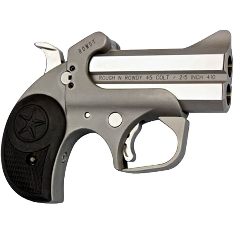 """Bond Arms Rowdy .45 LC/.410 Bore Derringer 3"""" Stainless Steel Barrels Fixed Sights Rubber Grip Matte Stainless Steel Finish"""