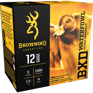 "Browning 12 Gauge Ammunition 25 Rounds 3"" 1-1/4 oz. #4 Shot"