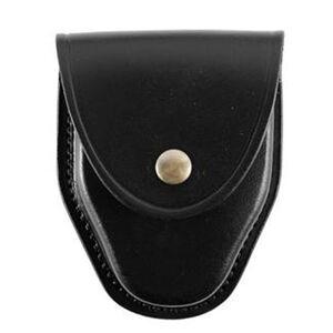 "Gould & Goodrich Handcuff Case Leather Fits 2-1/4"" Belt Brass Snap Black Basket Weave Finish B70WBR"