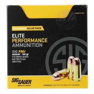 SIG Sauer Elite Performance .40 S&W Ammunition 200 Rounds 180 Grain Full Metal Jacket 985fps