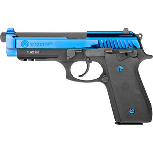"Taurus Model 92 9mm Luger Semi Auto Pistol 5"" Barrel 17 Rounds Drift Adjustable Rear Sight Accessory Rail Hogue Rubber Grips Blue PVD Slide/Black"
