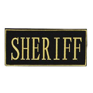 """Voodoo Tactical Law Enforcement SHERIFF Patch 2"""" x 4"""" Velcro/Sew-On Black With Yellow Text 772817348"""