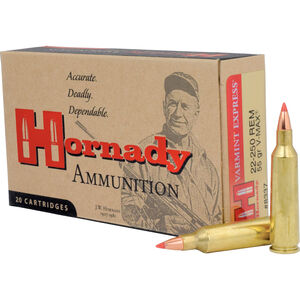 Hornady Varmint Express .22-250 Remington Ammunition 20 Rounds 55 Grain Hornady V-Max Polymer Tip Projectile 3680fps