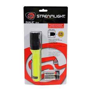 Streamlight Dualie Hand Held 175 max Lumens Spot and Flood 2AA Cap Switch Pocket Clip Integrated Magnet Polymer Yellow and Black Clam