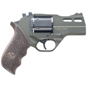 """Chiappa Rhino 30DS Double Action Revolver .357 Magnum 3"""" Barrel 6 Rounds Aluminum Alloy Frame Wood Grips OD Green Finish"""