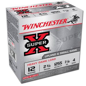 """Winchester Super X Heavy Game 12 Gauge Ammunition 25 Rounds 2.75"""" #4 Lead 1.125 Ounce XU12H4"""