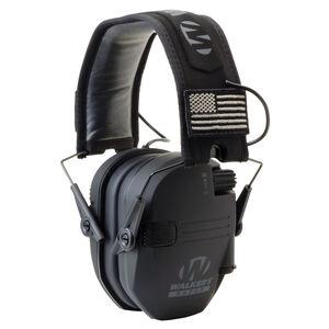 Walker's Game Ear Razor Patriot Series Slim Electronic Adult Folding Earmuffs American Flag Black GWP-RSEM-PAT