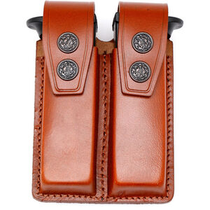 "JBP Double Magazine Case  Brown Leather 2"" Belt Loops for GLOCK Style Magazines"