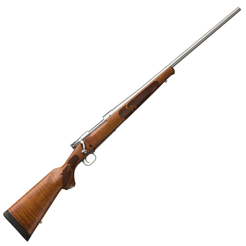 """Winchester Model 70 Featherweight .264 Win Mag Bolt Action Rifle 24"""" Barrel 3 Round Satin Finish Dark Maple Wood Stock Stainless Steel Finish"""