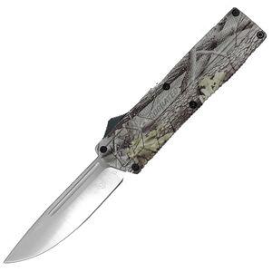 "CobraTec Knives Lightweight 3.25"" OTF Drop Point Plain D2 Steel Blade Woodland Camo Aluminum Handle"