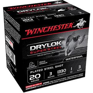 """Winchester Drylok Super Steel 20 Gauge Ammunition 25 Round Box 3"""" #3 Plated Steel Shot 1 oz 1330 fps"""