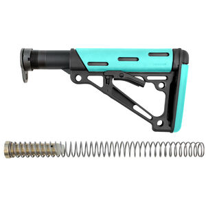 Hogue AR-15/M16 Collapsible Mil-Spec Diameter Carbine Buttstock Kit Polymer/OverMolded Rubber Aqua/Black Finish