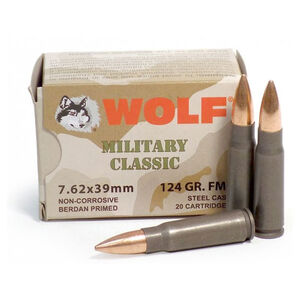 Wolf Military Classic 7.62x39mm Ammunition 123 Grain Bi-Metal FMJ Steel Cased 2330 fps