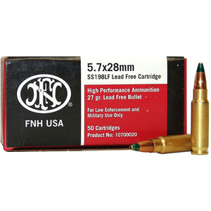FNH USA SS198LF 5.7x28mm Ammunition 2000 Rounds 27 Grain Lead Free Hollow Point 2200 fps