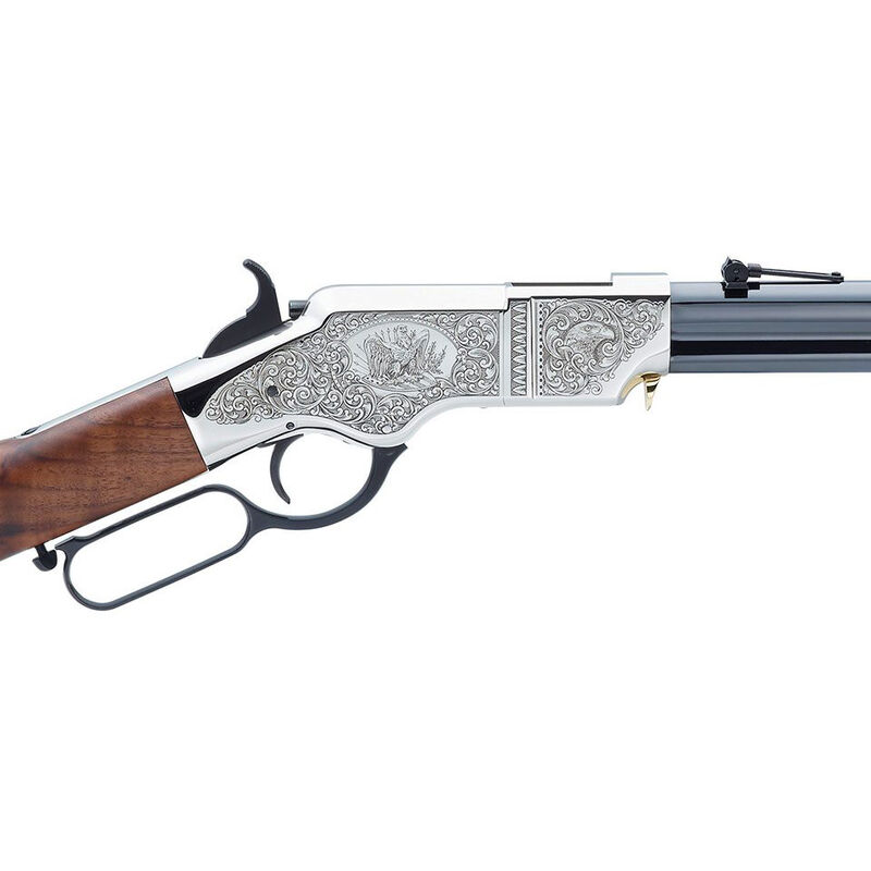 "Henry Original Silver Deluxe Engraved Edition .44-40 WCF Lever Action Rifle 24.5"" Barrel 13 Rounds Nickel Receiver Walnut Stock and Blued Finish"