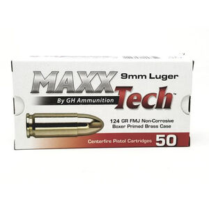 MAXXTech 9mm Luger Ammunition 50 Rounds FMJ 124 Grains PTGB912B