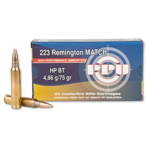Prvi Partizan PPU Match .223 Remington Ammunition 75 Grain HPBT 2720 fps