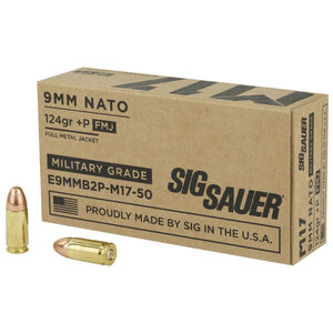 SIG Sauer M17 9mm Luger +P Ammunition 50 Rounds 124 Grain Elite Ball M17 Full Metal Jacket 1198fps