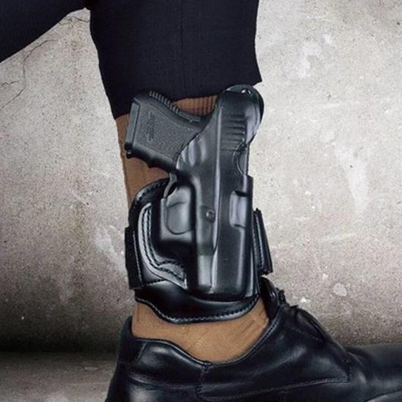 DeSantis Leather Ankle Holster SIG Sauer P938 Right Hand Leather Black