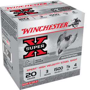 "Winchester Super-X 20 Gauge Ammunition 3"" #4 Steel Shot 7/8 Ounce 1500 fps"