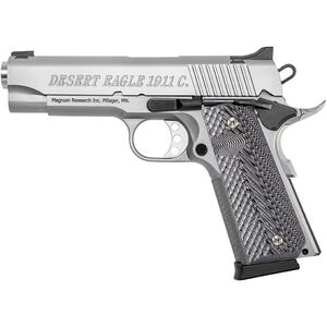 "Magnum Research 1911 Commander Semi Auto Pistol .45 ACP 4.33"" Barrel 8 Rounds Wood Grips Stainless Steel DE1911CSS"