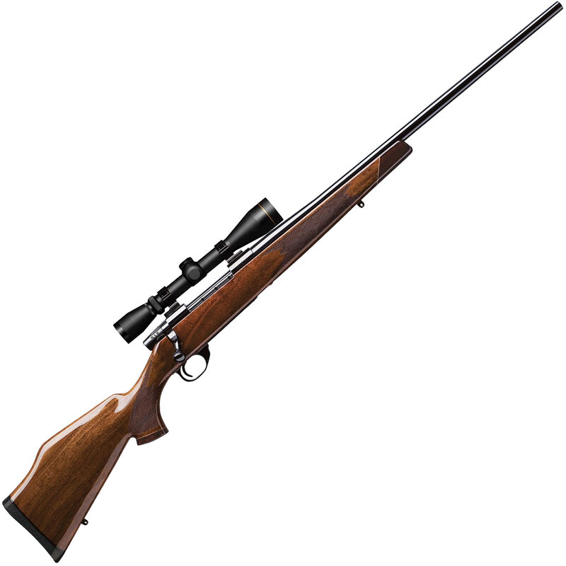 """Weatherby Vanguard Deluxe 7mm Rem Mag Bolt Action Rifle 24"""" Barrel 3 Rounds with 3-9x40 Leupold VX2 Scope Gloss Walnut Stock Polished Blued Finish"""