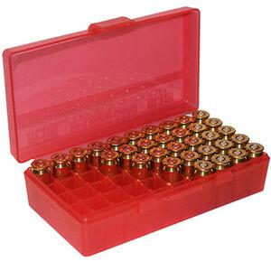 MTM Case-Gard P-50 Original Series Flip Top Handgun Ammo Box 9mm Luger/9mm Makarov/.380 ACP/.30 Luger Holds 50 Rounds Clear Red P50-9M-29a