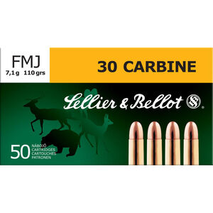 Sellier & Bellot .30 Carbine Ammunition 50 Rounds 110 Grain Full Metal Jacket Round Nose 2,024fps