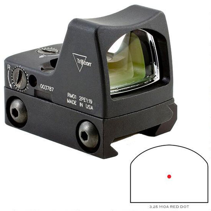 Trijicon RMR Type 2 LED Reflex Sight 3.25 MOA Red Dot Reticle 1 MOA Adjustment CR2032 Battery RM33 Picatinny Rail Mount Aluminum Black