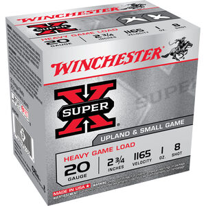 "Winchester Super-X Heavy Game 20 Gauge Ammunition 250 Rounds 2.75"" #8 Lead Shot 1 Ounce XU20H8"