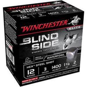 "Winchester Blind Side 12 Ga 3"" #2 Hex Steel 1.375oz 25 rds"
