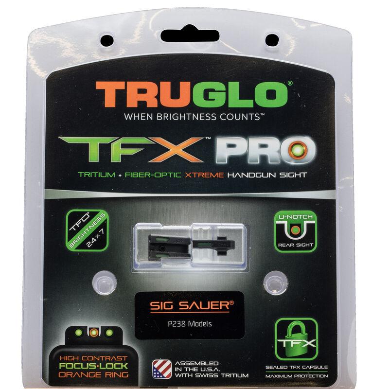 TRUGLO TFX PRO Sight Set For SIG Sauer P238 Orange Front Sight Ring Green Sights Black Bases