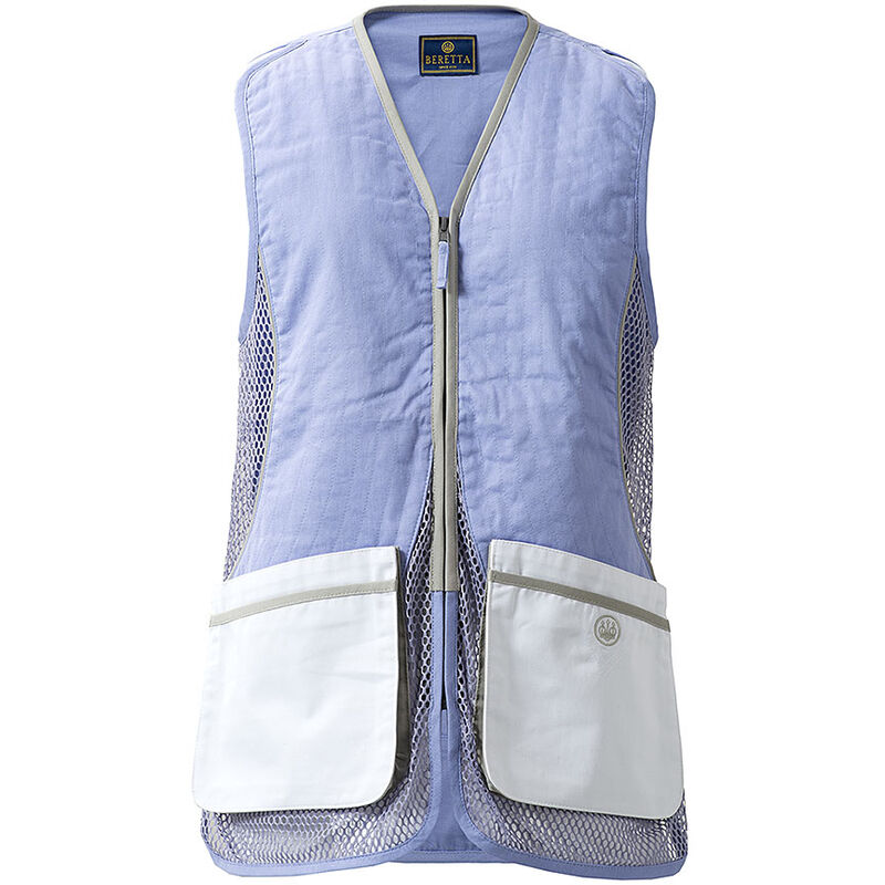 Beretta USA Women's Silver Pigeon Shooting Vest Cotton and Mesh Panels Easy-Glide Shooting Patches 2X-Large Red/White