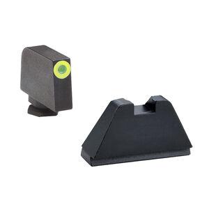 AmeriGlo Suppressor Height Tritium Sight Set For GLOCK Green Tritium Front Steel Rear LumiGreen Outline 1-Dot Sights Steel Matte Black GL-611