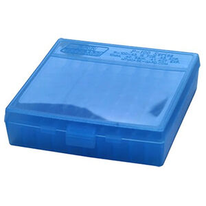 MTM Case-Gard P-100 Flip Top Ammo Box .22LR/.25ACP 100 Rounds Polymer Clear Blue P-100-22-24