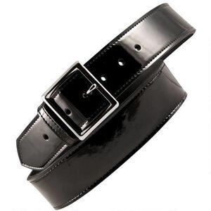 "Boston Leather 6505 Leather Garrison Belt 48"" Nickel Buckle Clarino Leather Black"