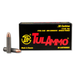 TulAmmo .30 Carbine Ammunition 50 Rounds FMJ 110 Grains TA301110