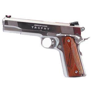 "American Classic 1911 Trophy Model Semi Auto Handgun .45 ACP 5"" Barrel 8 Rounds Checkered Mahogany Wood Grips Hard Chrome Finish ACT45C"