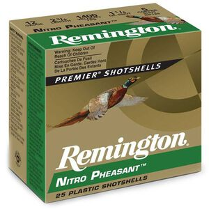 """Ammo 12 Gauge Remington Nitro Pheasant Load 2-3/4"""" #5 Plated Lead 1-1/4 Ounce 250 Round Case 1400 fps NP125"""