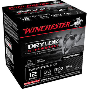 "Winchester DryLok Super Steel 12 Gauge Ammunition 25 Rounds 3-1/2"" Shotshell 1-9/16 Oz Steel Shot #1 Shot Size 1300fps"