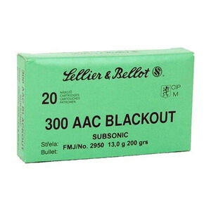 Sellier & Bellot .300 Blackout Ammunition 20 Rounds Subsonic FMJ 200 Grains SB300BLKSUBA