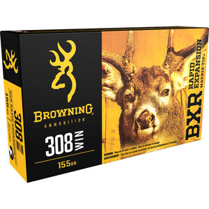 Browning BXR .308 Winchester Ammunition 155 Grain Rapid Expansion Matrix Tip 2820 fps