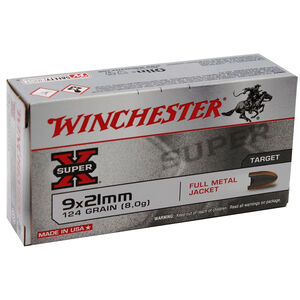 Winchester 9x21mm IMI Ammunition 50 Rounds 124 Grain Full Metal Jacket 351fps