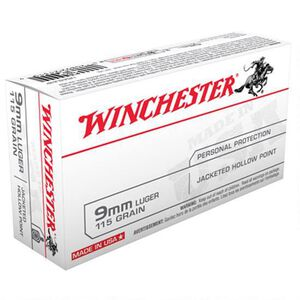 Winchester USA 9mm Luger Ammunition 50 Rounds, JHP, 115 Grain