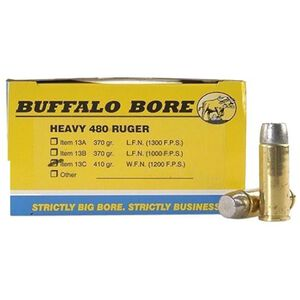 Buffalo Bore .480 Ruger Ammunition 20 Rounds LBT-WFN 410 Grains 13C/20