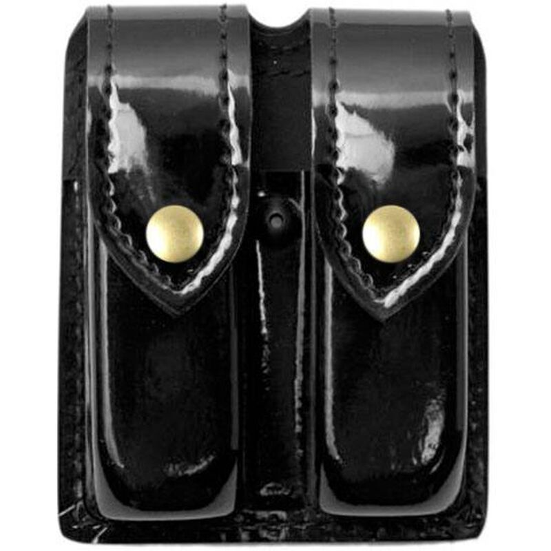 Safariland Model 77 Double Handgun Magazine Pouch SIG Sauer P226, P228 Hi-Gloss Finish Brass Snap Closure Black 77-83-9B