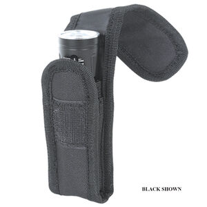 Voodoo Tactical MOLLE Flashlight Pouch with Adjustable Cover/Elastic Sides Size Large Nylon Black 013401000