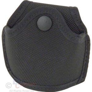 Stallion Leather Quick Release Open Top Standard Handcuff Holder Nickel Hardware Ballistic Nylon Black